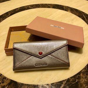 New MIU MIU Metallic Leather Love Envelope Wallet